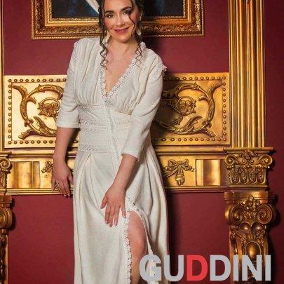 Махровый женский халат Guddini. Natali молочный