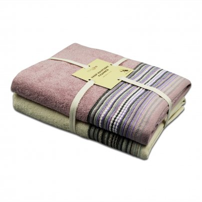 Набор из 2-х махровых полотенец Homeline. Teo кремово-розового цвета