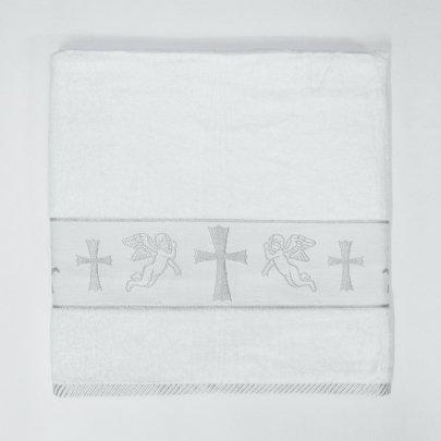 Крыжма велюровая жаккардовая с вышивкой Ангел-1 серебро, 70х140см