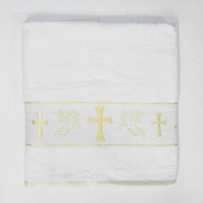 Крыжма велюровая жаккардовая с вышивкой Ангел-1 золото, 70х140см