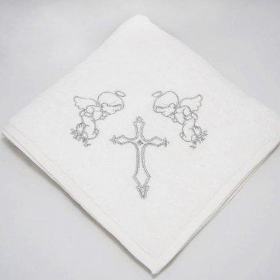 Крыжма махровая с вышивкой Ангел серебряного цвета, 100х100см