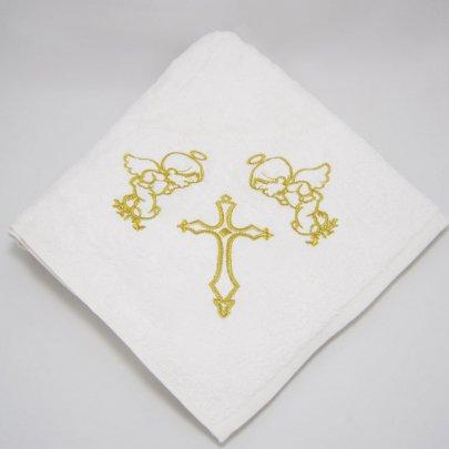 Крыжма махровая с вышивкой Ангел золотого цвета, 100х100см