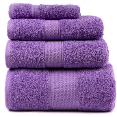 Махровое полотенце Arya. Однотонное Miranda Soft лилового цвета
