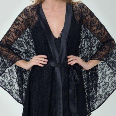 Комплект женский халатик+пеньюар  Mariposa. 213 siyah