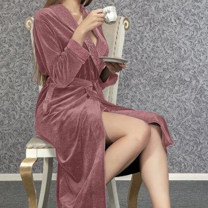 Халат женский велюровый Nusa. Модель 0307