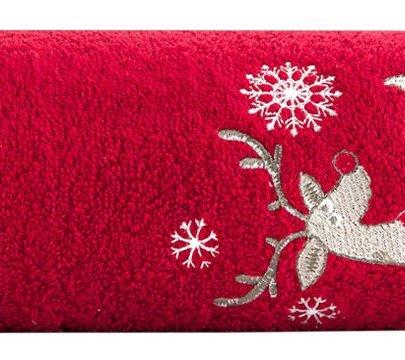 Махровое полотенце Arya. Christmas Melu красного цвета