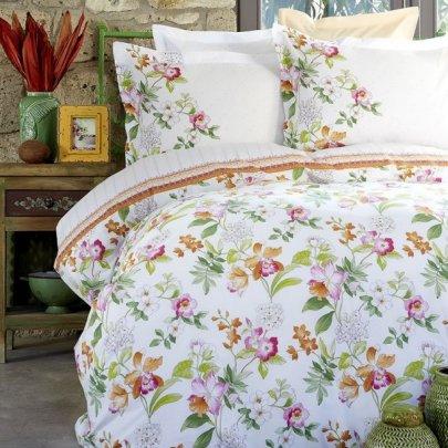 Набор постельного белья с пике Karaca Home. Paradise orange jacquard