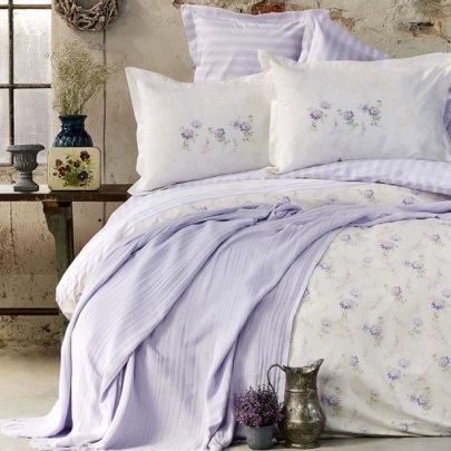 Набор постельного белья с пике Karaca Home. Tesla lila jacquard
