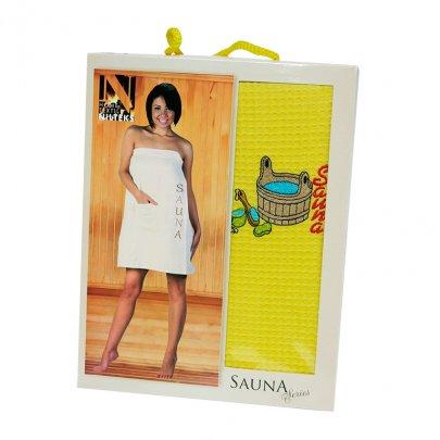 Сарафан для сауны Niltex вафельный женский желтого цвета