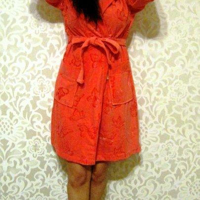 Халат женский велюровый Nusa. 8210 кораллового цвета