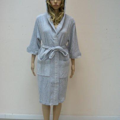 Nusa, халат женский трикотажный, модель 8295 серый
