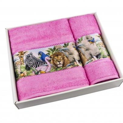 Набор махровых полотенец Cestepe. Bamboo Junior Сафари розовый