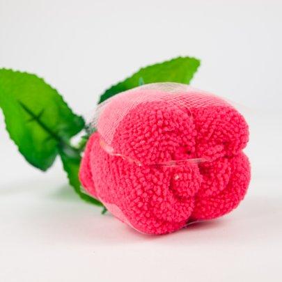 Полотенце Роза темно розовая в подарочной упаковке, размер 20x20