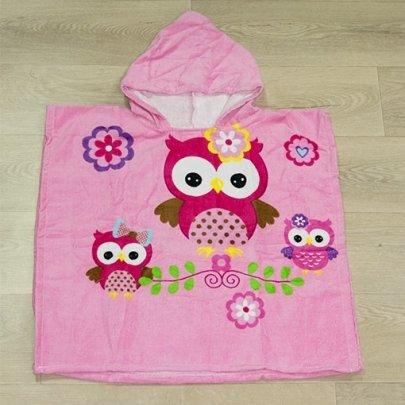 Детское полотенце-пончо Совы