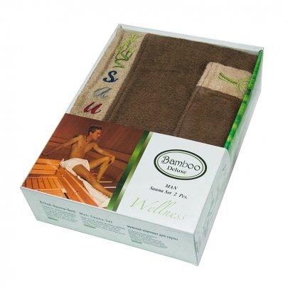 Набор для сауны мужской Gursan Bamboo, коричневый, 2 предмета