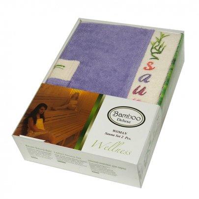Набор для сауны женский Gursan Bamboo, фиолетовый, 2 предмета