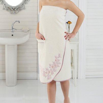Набор для сауны бамбуковый женский Nusa, модель NS 030-1 кремовый, 3 предмета