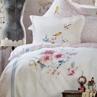 Летнее постельное белье с вафельным покрывалом Karaca Home. Sepia pembe