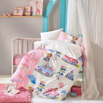 Постельное белье в детскую кроватку Cotton Box. Sevimli Seyahat Pembe