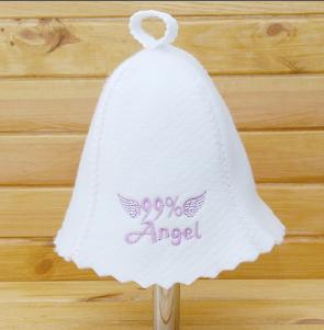 "Шапка для сауны женская ""99% Ангел"", белая"