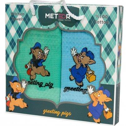 Новогодний набор из 2х кухонных полотенец Meteor. Greeting Pigs