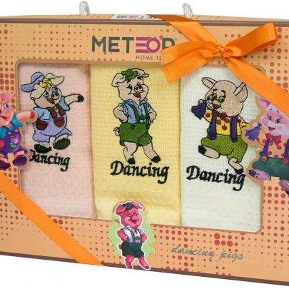Новогодний набор из 3х кухонных полотенец Meteor. Dancing Pigs