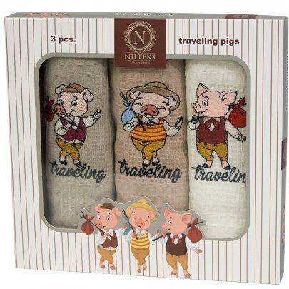 Новогодний набор из 3х кухонных полотенец Nilteks. Traveling Pigs