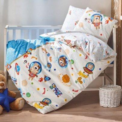 Постельное белье в детскую кроватку Cotton Box. Uzay Oyunu Mavi
