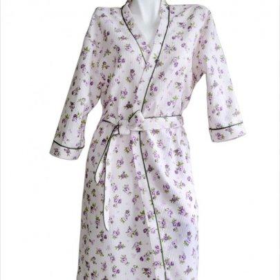 Халат женский вафельный Прованс, фиолетового цвета