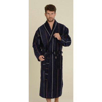 Мужской махровый велюровый халат Gursan. Темно-синий