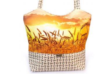 Сумка женская Плетенка С0417 с полем пшеницы, размер 30х40х13 см