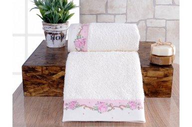 Набор махровых полотенец Irya. Lavinya розового цвета, 2 предмета, в коробке