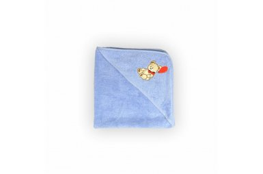 Полотенце-уголок для купания Мишка с шариком на голубом