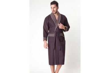 Мужской вафельный халат Nusa. Модель 15120 коричневого цвета