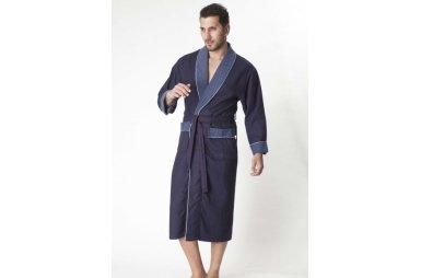 Мужской вафельный халат Nusa. Модель 15120, синего цвета