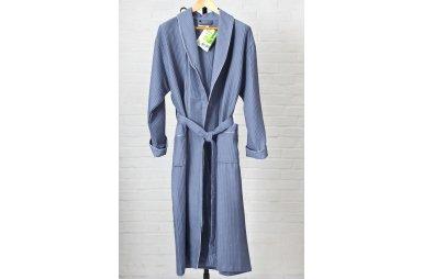 Мужской вафельный халат Nusa. Модель 15120 серого цвета