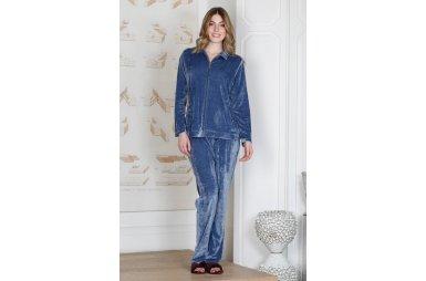 Домашний велюровый комплект с брюками Hays. 19317 mavi