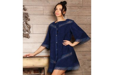 Махровый женский халат Guddini. Valeria темно-синий