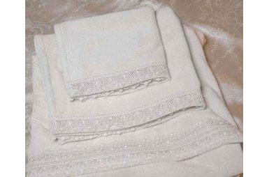 Набор женский из 3-х полотенец Gudinni. Izolda молочного цвета
