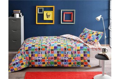 Подростковое постельное белье TAC. Ranforce Graffiti Square (простынь на резинке)