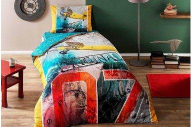 Подростковое постельное белье TAC. Ranforce Teen Plane (простынь на резинке)