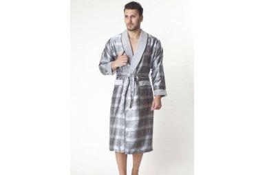 Халат мужской шелк-махра Nusa, модель 8015 серый