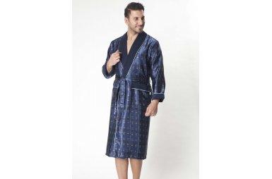 Халат мужской шелк-махра Nusa, модель 8015 синий