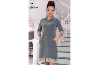 Халат женский велюровый Cocoon. 12-1485 gray melange