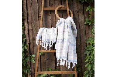 Пляжное полотенце Barine. Pestemal Lino Indigo синее