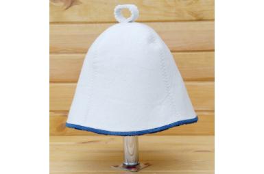 Шапка для сауны Комфорт белого цвета с синей окантовкой