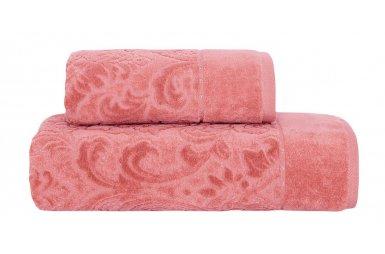 Набор из 2-х махровых полотенец Arya. Жаккард Orson персикового цвета