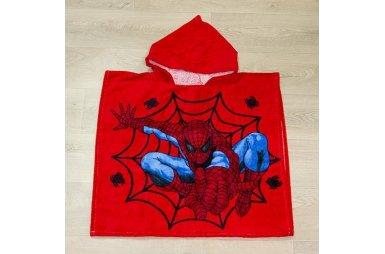 Детское полотенце-пончо Человек-паук, красное