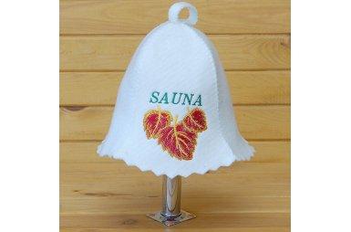 Шапка для сауны белого цвета Sauna красный березовый лист