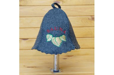 Шапка для сауны серого цвета Sauna березовый лист